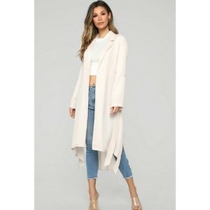 Blush color light trench coat